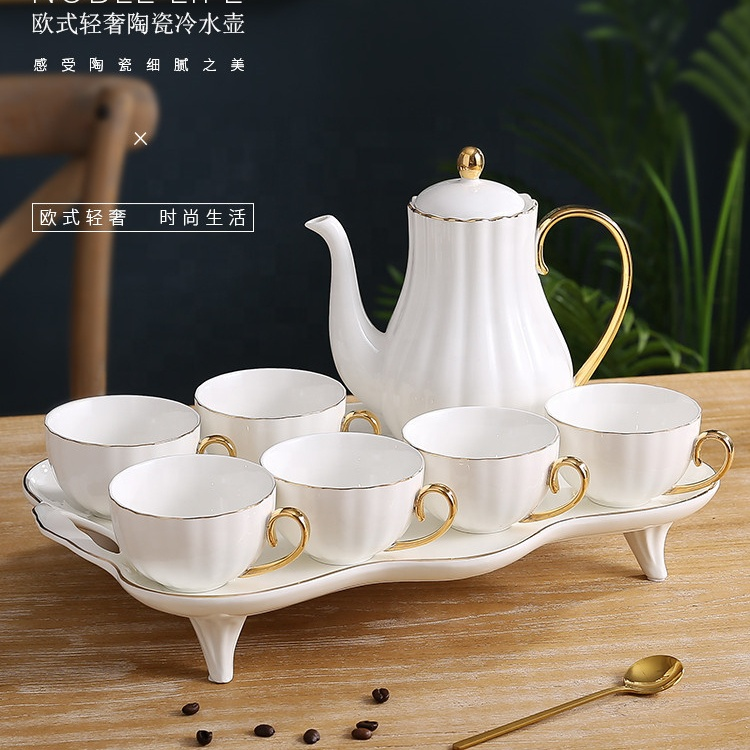 European royal exotic gold handle bone china <strong>porcelain</strong> 8pcs coffee and <strong>tea</strong> <strong>set</strong> with tray
