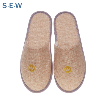 5 star luxury latest design spa linen flax slipper raw materials for hotel