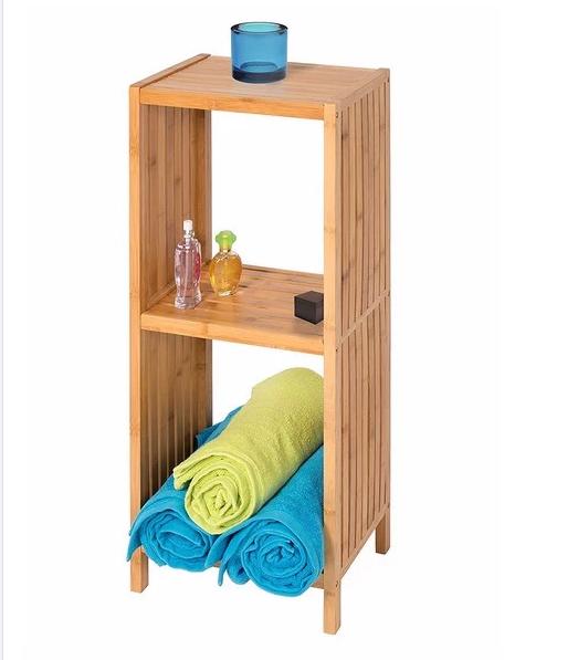 Eco- Friendly 3 Tiers Natural Bamboo Bathroom Corner Storage Rack