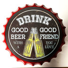 Plaque Decorative Metal Plaque Black Enamel Drink Beer And Good Friend Advertising Metal Wall Posters Tin Sign Plaque For Decoration