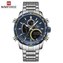 Новые Роскошные мужские часы NAVIFORCE, модные спортивные часы с хронографом, Топ бренд, кварцевые часы, полностью стальные часы с большим цифер...(China)