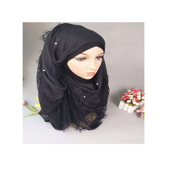 High quality lace women scarf hijab cotton head scarf beaded shawl