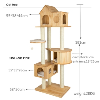 China good quality fancy European material cat tree house/jumping climbing tower for pet