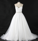 A-line Sweetheart Beaded Belt Pleat Lace up Backless Sweep Train Wedding Dress Bridal Dress