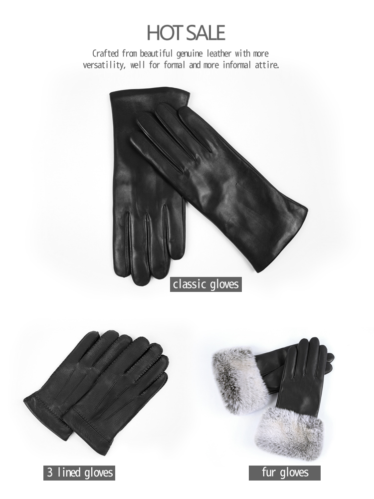 Classic winter real genuine thin leather glove tight weave comfort cashmere men gloves for driving cars