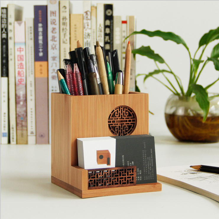 2019 New Design Real <strong>Bamboo</strong> wood <strong>pen</strong> and name card 2 in 1 <strong>holder</strong> for office,desk promotion,