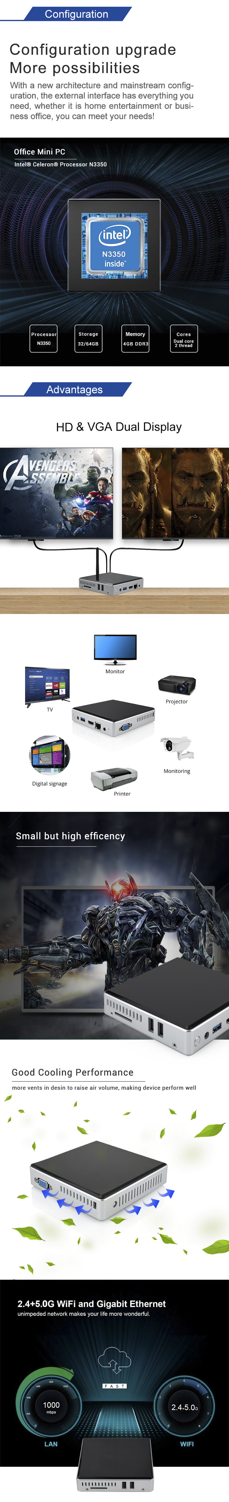 cheap fanless mini pc window10 micro personal desktop computer with low power consumption for office home education