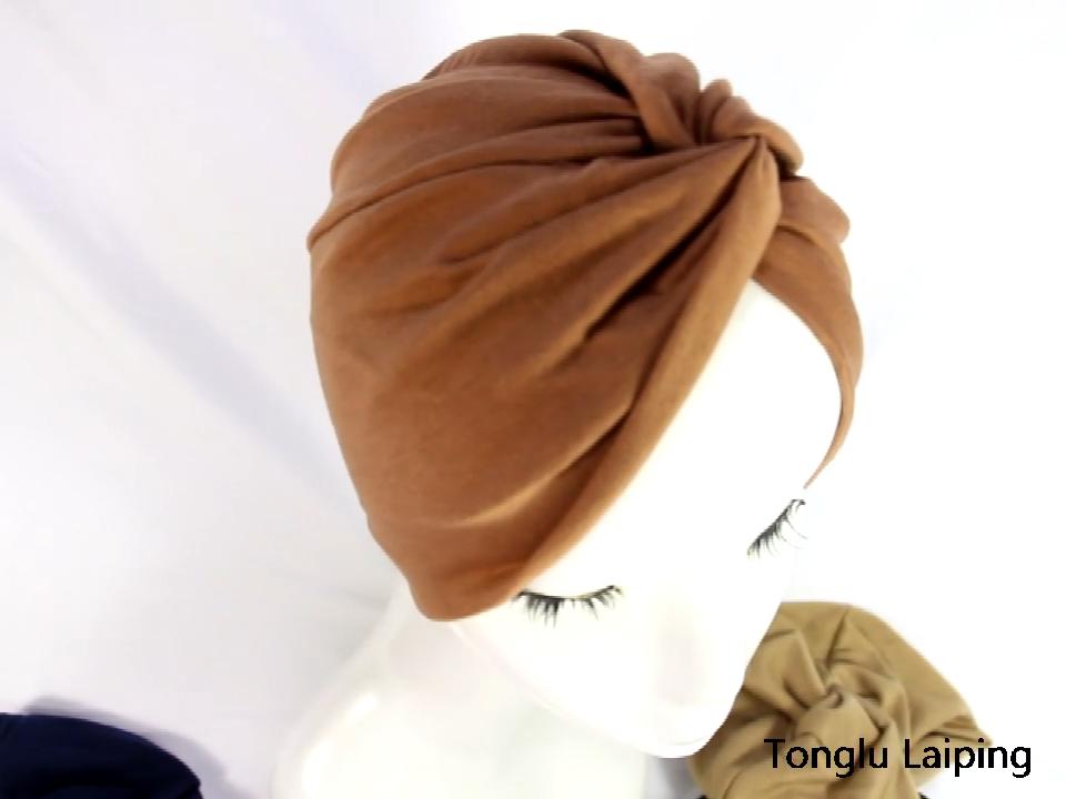 HZO-18068 Wanita Tidur Lembut Sorban Pra Terikat Kapas India Kemo Topi Beanie Serban Hiasan Kepala