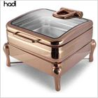 Catering buffet dubai food warmers roll top chafing dishes 6l square rose gold copper induction electric chafer heater