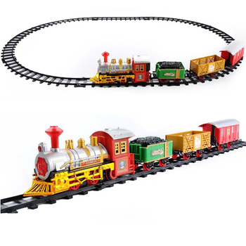 Battery Operated Toy Train Slot Lighting Music Plastic Electric Train Tracks Set