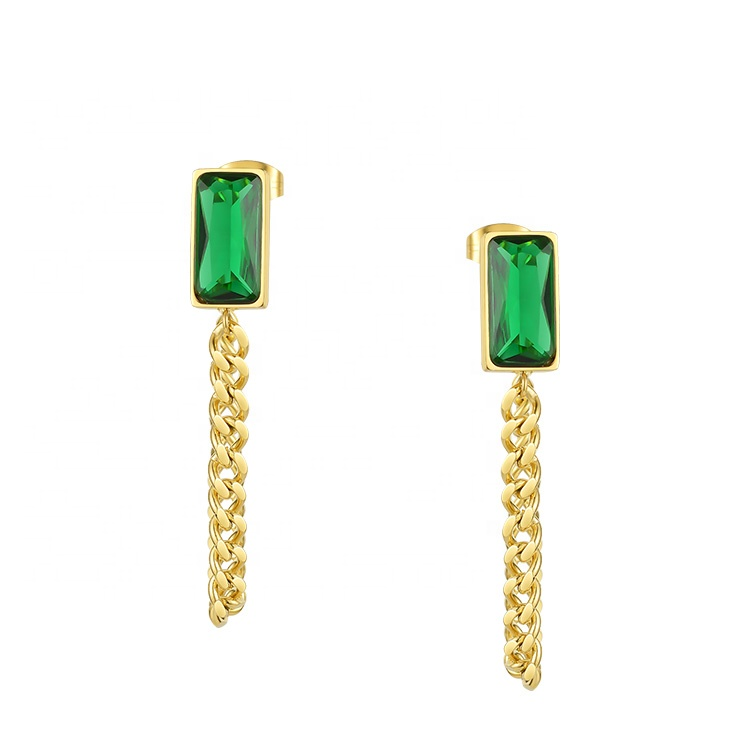 Latest High Quality 18K Gold Plated Stainless Steel Rectangle Border Green Diamond with Chain Earrings E201194