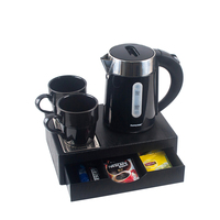 0.6L double wall electric kettle tea tray with drawer for hotel