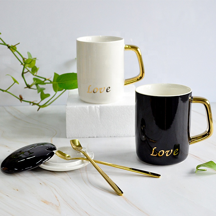 Custom Personalized Classic 400ml Black White Ceramic Mug Reusable Coffee Mug with Lid Spoon
