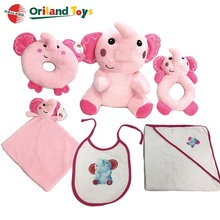 6pcs new born newborn baby girl gift sets plush toy rattle bib