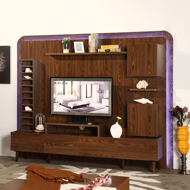 Classic Living Room Furniture Wooden Led Tv Stand With Showcase
