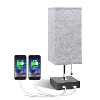 Grey Bedside Nightstand Lamp with Square Restaurant Table Lamp USB Desk Lamp