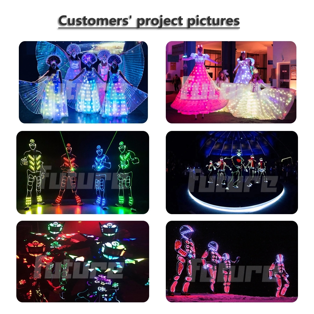 *WL-0255  Full Color Fiber Optic & LED Dance Robot Costume LED Suits LED Tron Dance Costume boys group dance luminous clothing