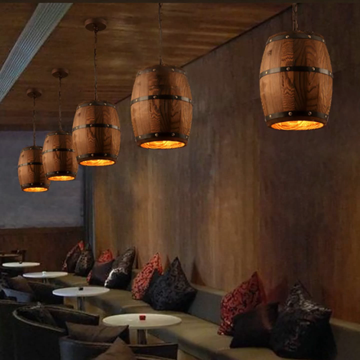 تونغهوا السقف الخشب برميل نبيذ مصباح معلق الإضاءة بقيادة مصباح مُثبت في السقف النازل لبار مقهى Atomasphere مطعم الثريا