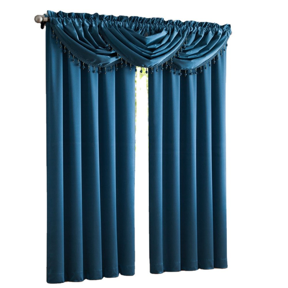 America Luxury Simple Solid Color Satin Curtains for Living Room Kitchen Bedroom 1 Panel Polyester Fabric Home Decoration Window