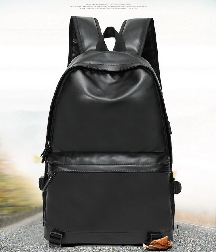 2019 High Quality New Water Resistant PU Leather Fashion Backpack USB Laptop Backpack