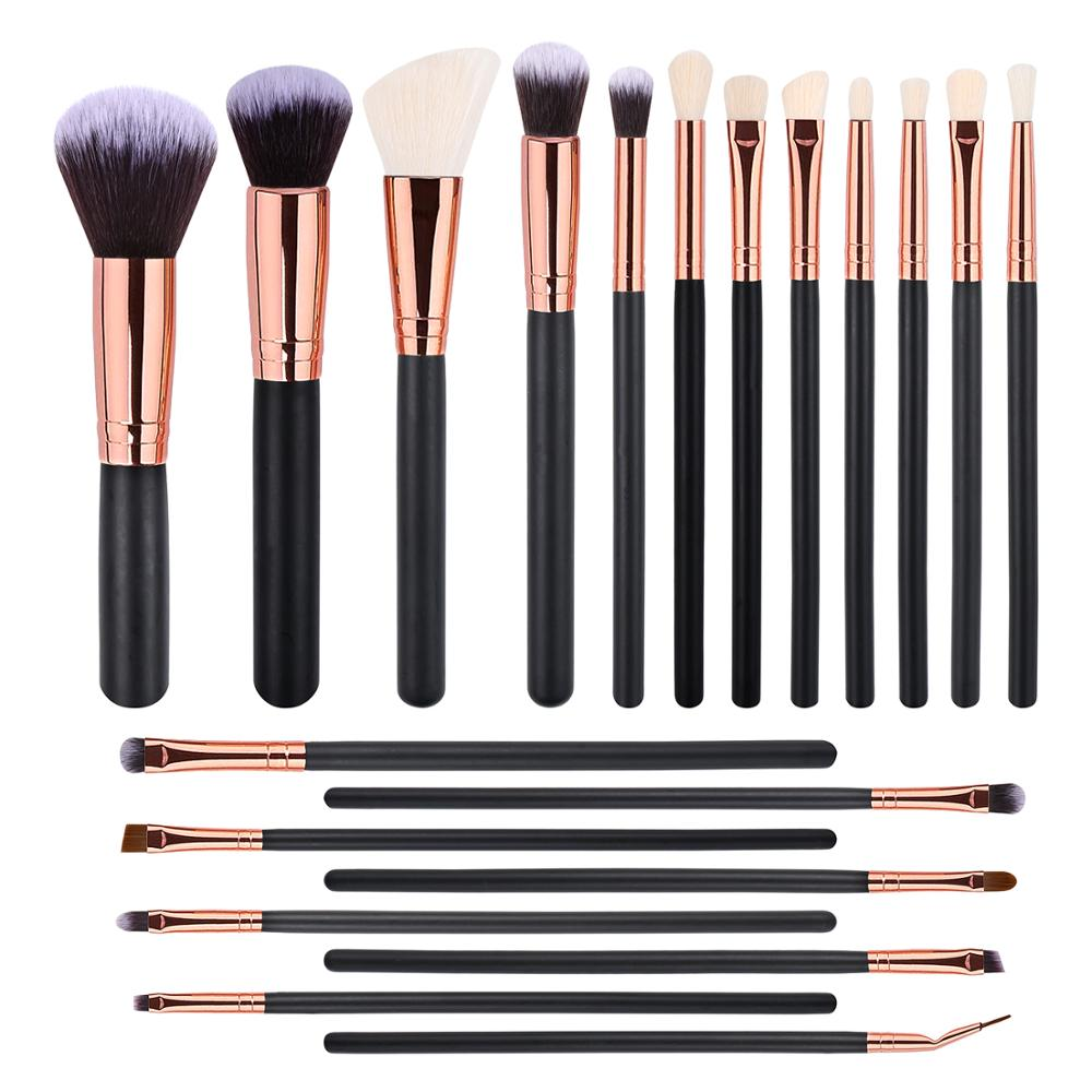 BUEART 2020 NEW DESIGN 20pcs Soft Synthetic Free <strong>Sample</strong> rose gold black Handle <strong>Makeup</strong> Brush Set/Custom Logo Make Up Brushes