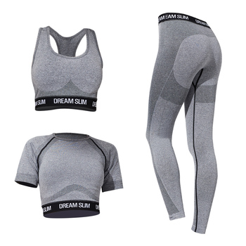 3 Pieces in 1 Customized Waist Band Wholesale Grey Sports Crop Top Padded Bra Seamless Work Out Set