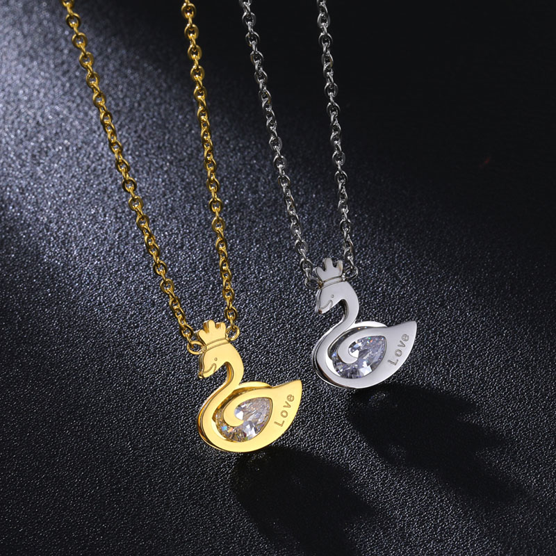 New fashion <strong>cheap</strong> stainless steel <strong>cute</strong> animal goose <strong>necklace</strong> zircon custom <strong>necklace</strong> for girls