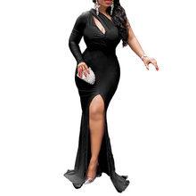 Африканское женское сексуальное вечернее длинное платье с одним плечом, платье-футляр размера плюс, женские платья макси с высоким разрезо...(Китай)