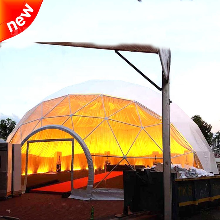 multiple layouts inside 14m diameter commercial dome tent with lining trade show party tent