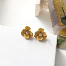Женские серьги-гвоздики с желтым цветком S925, серьги с белым жемчугом, ювелирные изделия для девушек и студенток(Китай)