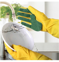 Household Dish Washing Rubber Gloves Scouring cloth sponge for Washing Clothes Cleaning Gloves for Housekeeping