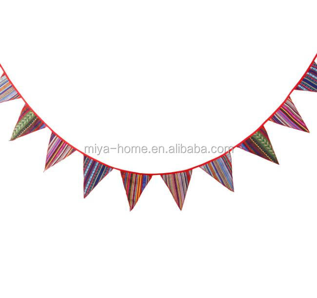 National style triangle 12 flag / Party Colorful Banner Garland / outdoor tent decoration hang rope flag