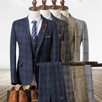 High Quality In Stock Plaid Ready To Ship Mens Suits 3 piece Slim Fit