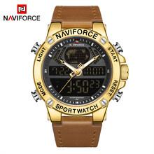 NAVIFORCE, роскошные золотые мужские часы, спортивные, светодиодный, цифровые, кварцевые часы, военные, кожа, водонепроницаемые часы для мужчин, ...(Китай)