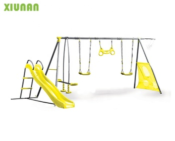Seven Functions Play set Outdoor Metal Playground Swing Set With Plastic Slide