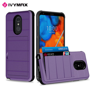 2 in 1 Combo Credit Card Slot Mobile Phone PC TPU Hybrid Shockproof Case for lg stylo5