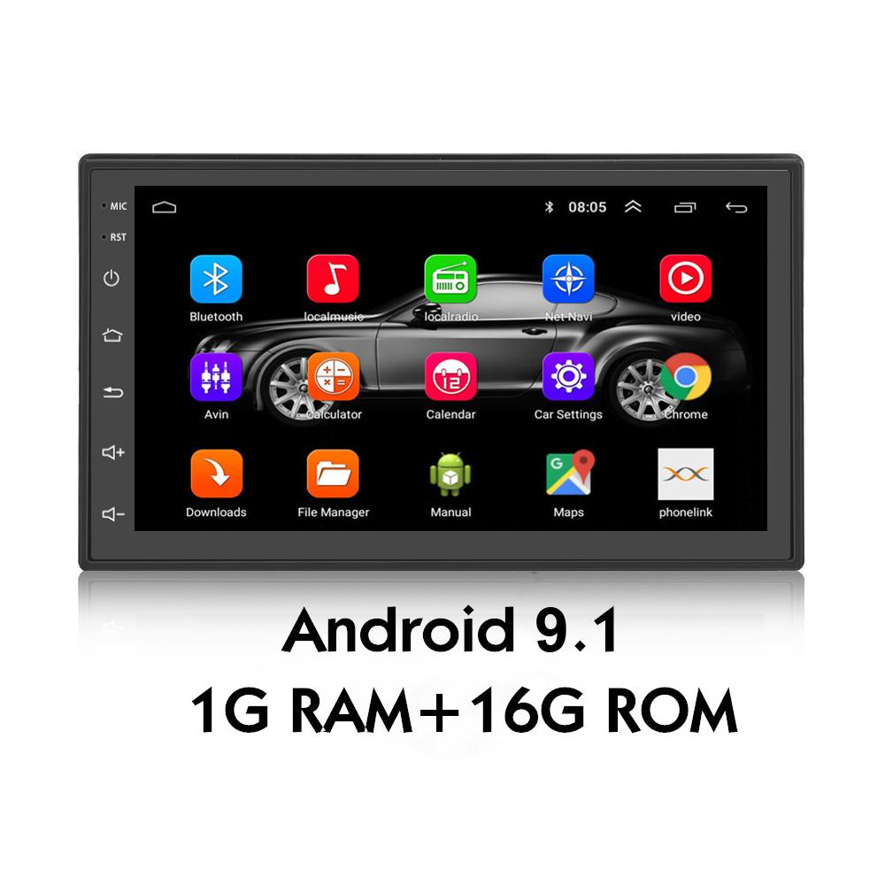 Podofo العالمي راديو أندرويد 9.1 نظام 7 بوصة 2 الدين سيارة لاعب لتحديد المواقع والملاحة واي فاي بلوتوث FM مرآة رابط + كاميرا خلفية