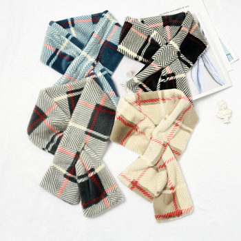 Trendy 100% Polyester Tartan Plaid Checked Printing Cross Knot Plush Fleece Scarf for Women