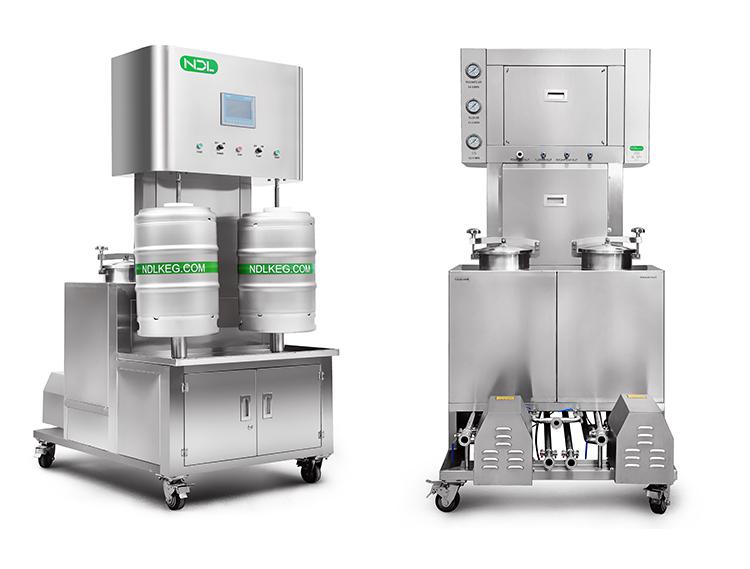 डबल सिर पीपा भरने की मशीन अर्द्ध स्वचालित kegging प्रणाली पीपा कपड़े धोने की मशीन