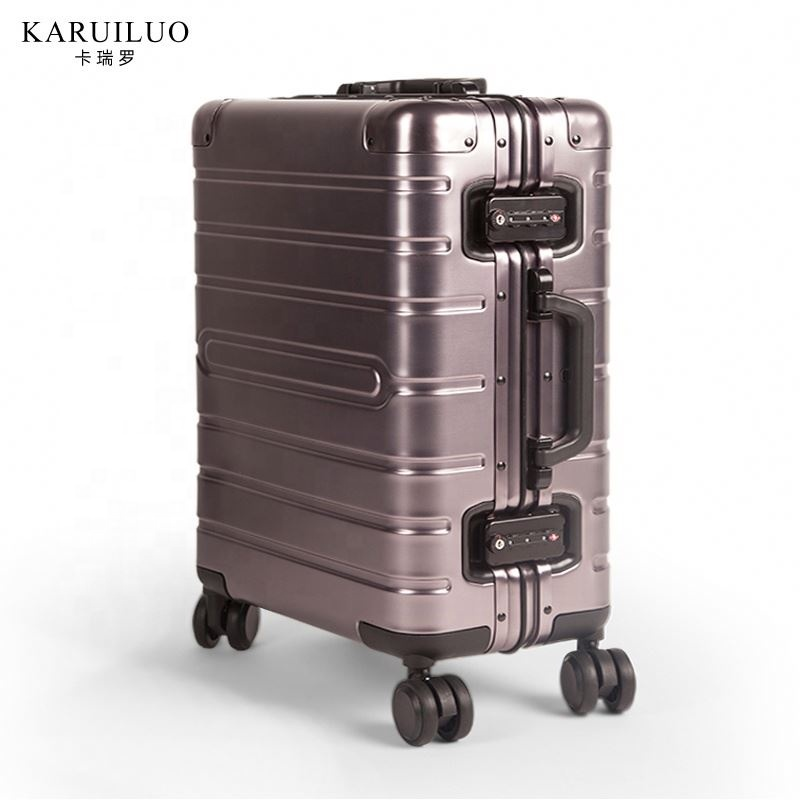 Fashionable silver suitcase TSA Lock 360 degree wheel full aluminum travel carry on luggage