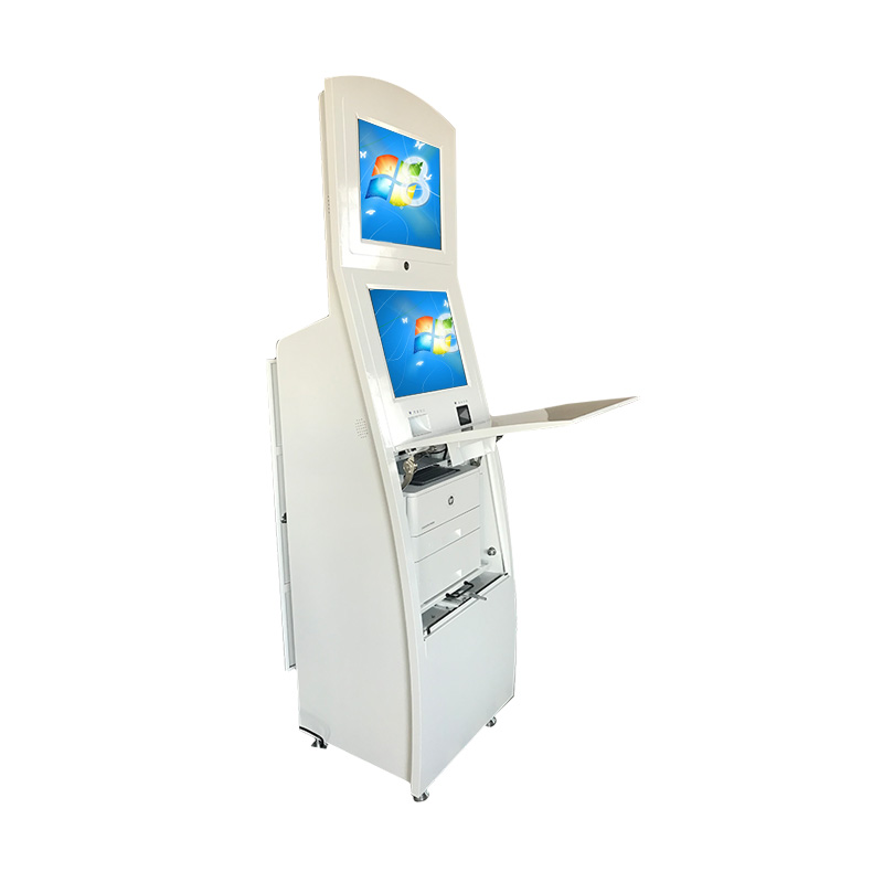 Self service register kiosk for self ordering with cash accept card dispenser android system