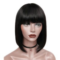 HD Full Lace Wig With Bang Cheap Wholesale Brazilian Raw Cuticle Aligned Virgin Hair Short Bob Human Hair Wigs For Black Woman