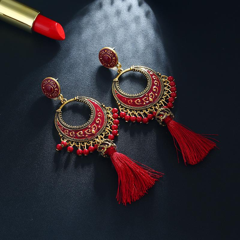 Ancient style drop oil tassel pendant earrings European and American fashion national wind earring