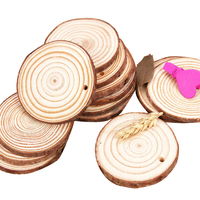 Unfinished Wood Pieces Slices Natural Round DIY Wood Blank Ornaments Bulk Christmas Crafts Supply for Kids with Predrilled Hole