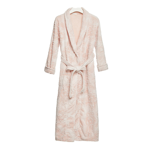 LIFE Pink Winter Cardigan Women Sexy Flannel Pajamas Satin Floral Bathrobes Bath Robe