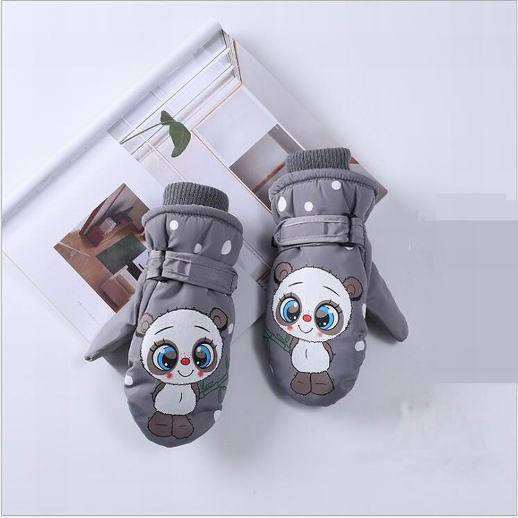 ready to ship Children kids Ski Snowboard Winter warm Outdoor activity Waterproof Windproof leather Gloves With lining
