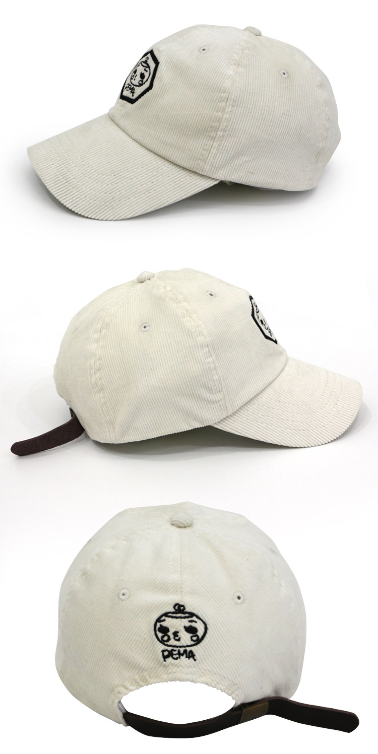 Unstructured 6 panel Leather Strap Cap Custom Embroidered Corduroy Hat