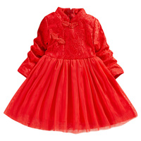 Kids clothes baby handmade wedding lace dresses tulle embroidery red pink baby girl dress