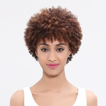 Wholesale Human Hair Wig Brazilian Afro Kinky Curly Wigs For Black Women Non Lace Front Human Hair Wigs