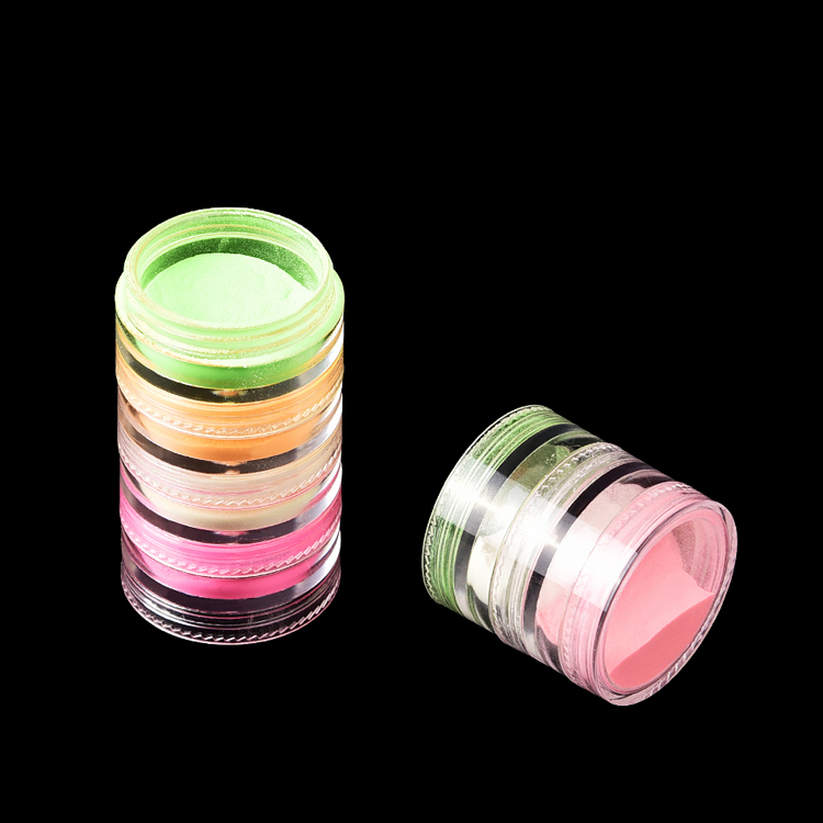 Hot sale stackable tower set 6 colors glow nail polish pigment powder dust glowing in the dark sugar powder for nail art